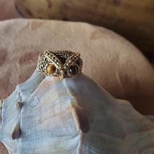 Gorgeous 14K HGE owl ring